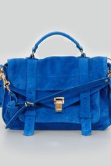 Proenza Schouler Ps1 Medium Suede Satchel Bag Blue - Lyst