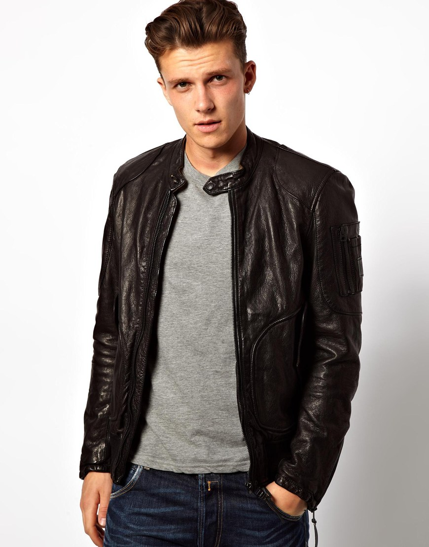 Replay Leather Bomber Jacket in Black for Men | Lyst