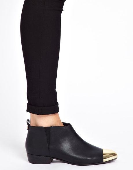 river island metal toe cap ankle boots in black lyst