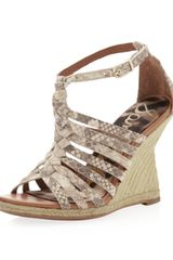 Sam Edelman Annabel Braided Leather Wedge Sandal Snakeprint - Lyst