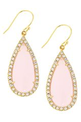 Tai Pink Glass Crystal Teardrop Earrings - Lyst