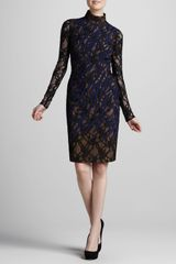Versace Lace Turtleneck Dress - Lyst