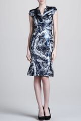 Zac Posen Swirlprint Vneck Dress - Lyst