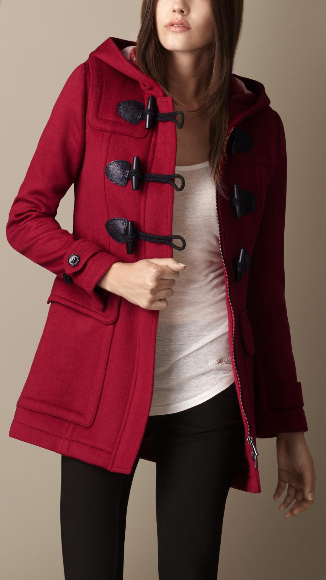 Burberry Wool Fitted Duffle Coat in Pink (claret pink) | Lyst