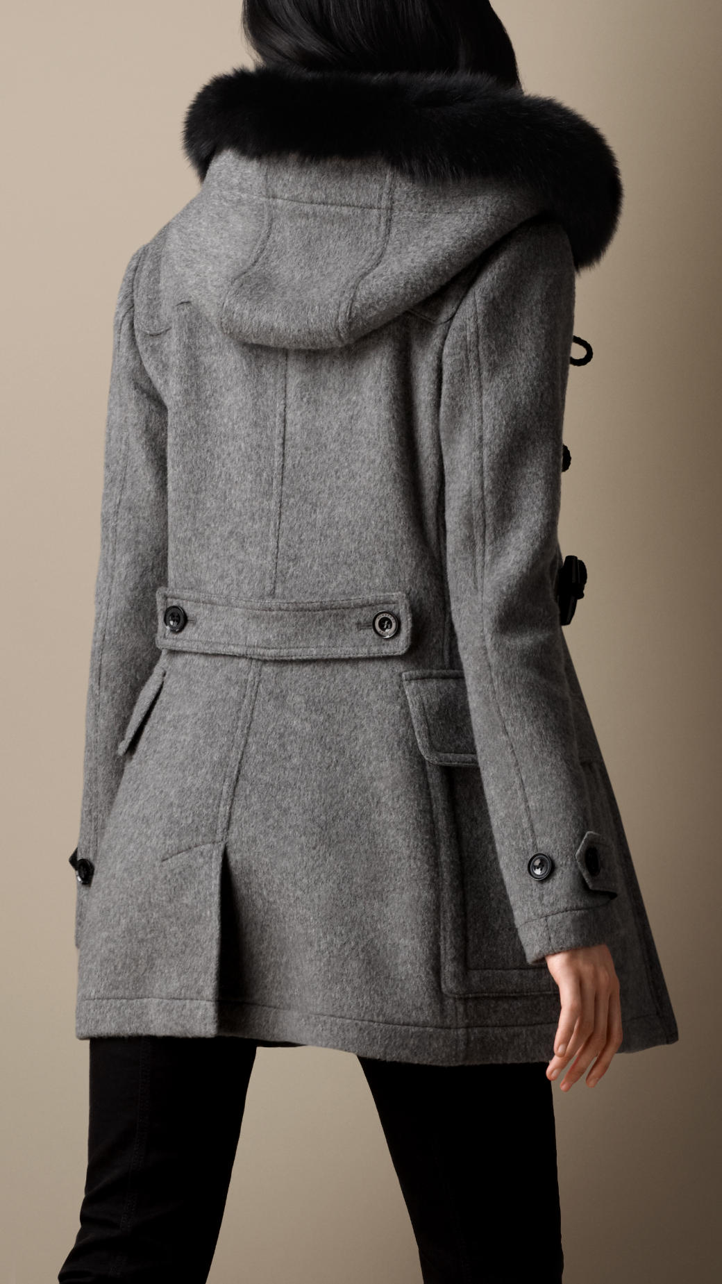 Burberry Detachable Fur Trim Fitted Duffle Coat in Gray | Lyst