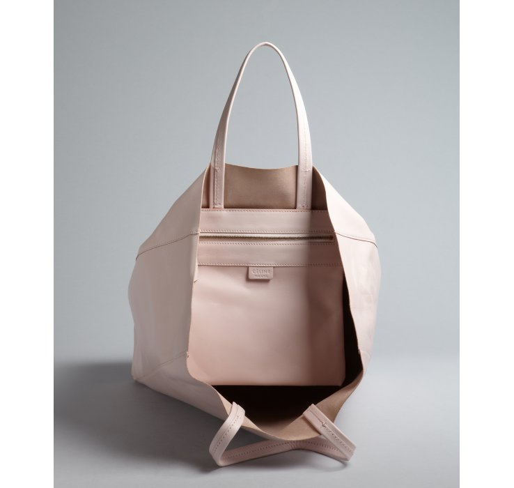 C��line Pale Pink Dual Handle Leather Shopping Tote in White (pink ...