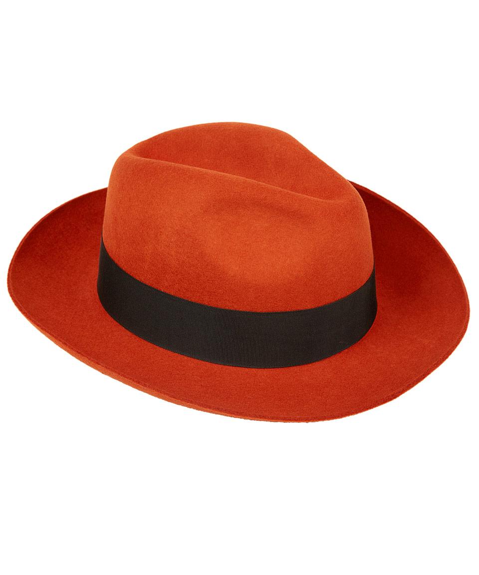 Lyst Christys Orange Grosvenor Fedora Hat In 11a1a899de9