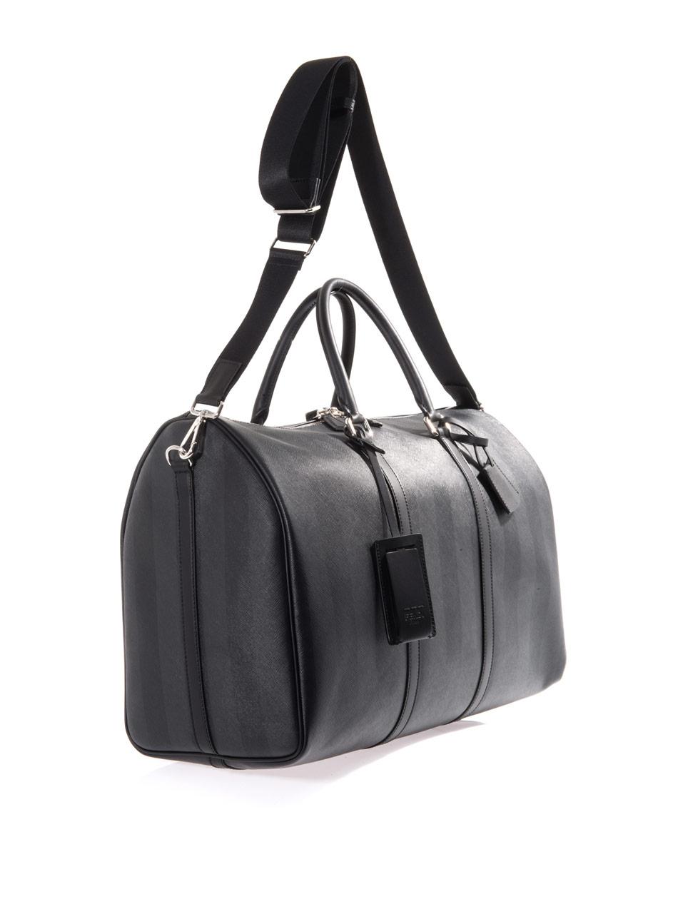 Fendi Tonal Leather Weekend Bag in Black for Men | Lyst