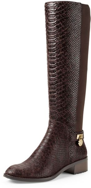Michael by Michael Kors Hamilton Snake Embossed Knee Boot - Lyst
