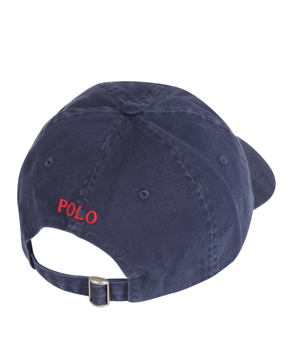 polo ralph lauren navy and red logo cap in blue for men lyst. Black Bedroom Furniture Sets. Home Design Ideas