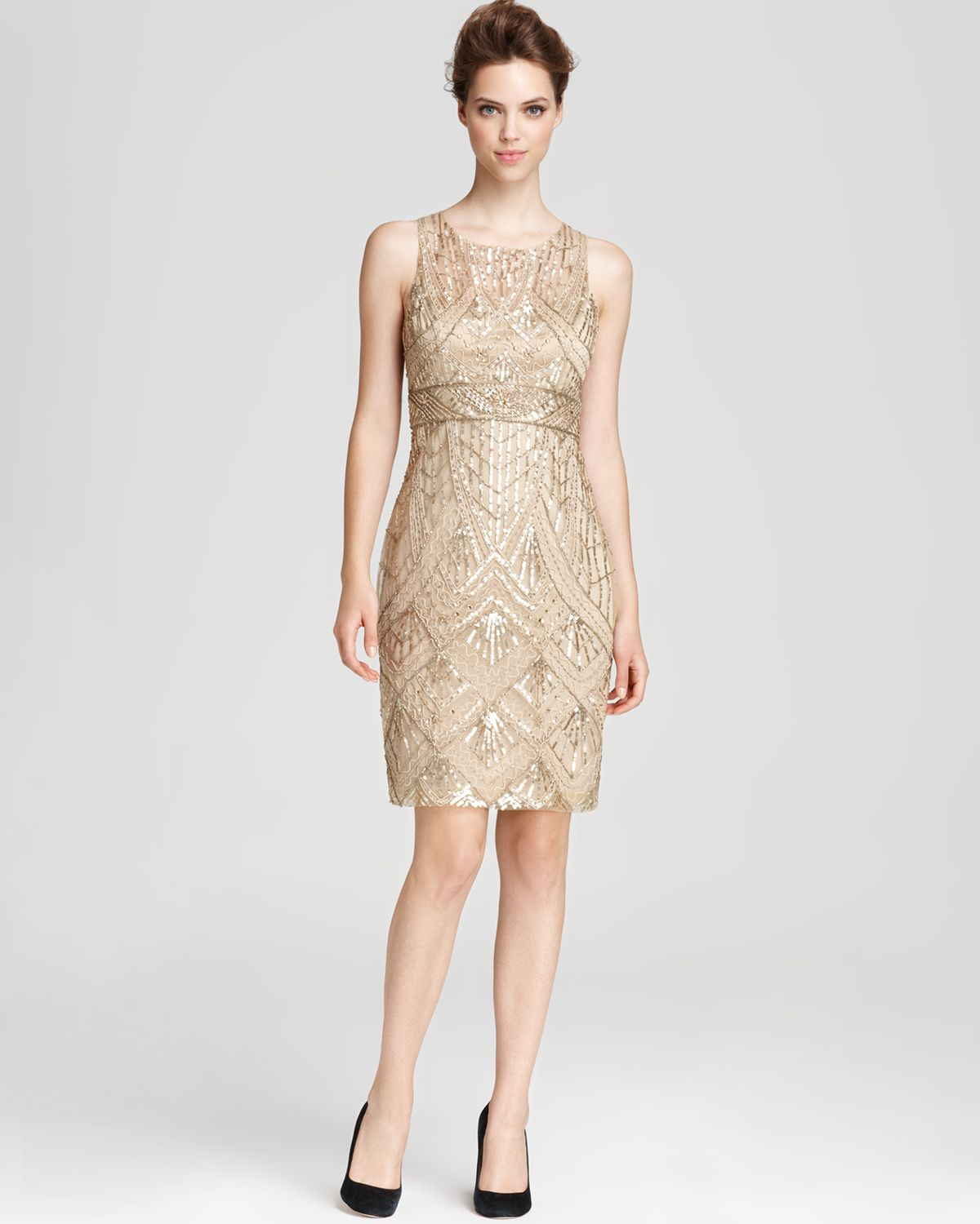 f8feb5156cf Sue Wong Dress Beaded in Natural - Lyst