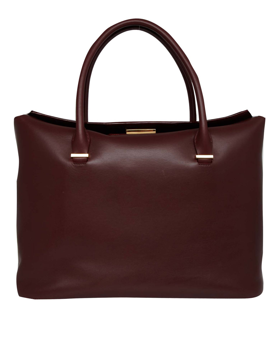 The Row Burgundy Carryall Calf Leather Tote Bag In Purple