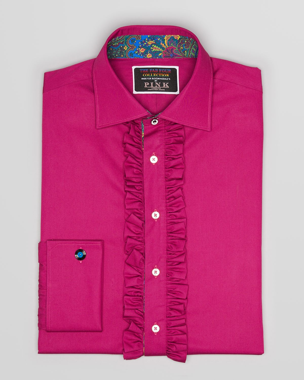 Thomas pink Fab Four Collection Solid Ruffle Dress Shirt ...