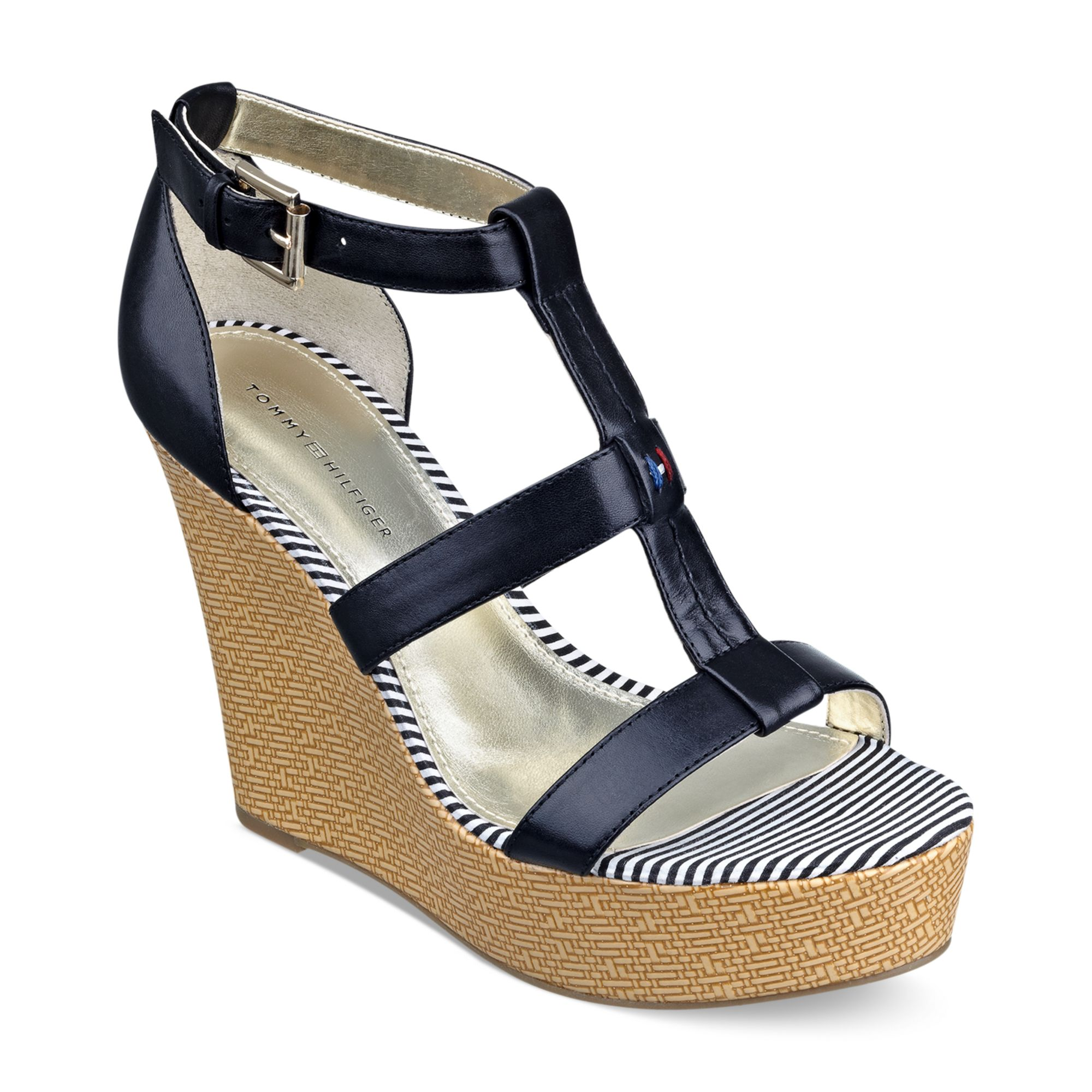 tommy hilfiger adalinay platform wedge sandals in black lyst. Black Bedroom Furniture Sets. Home Design Ideas