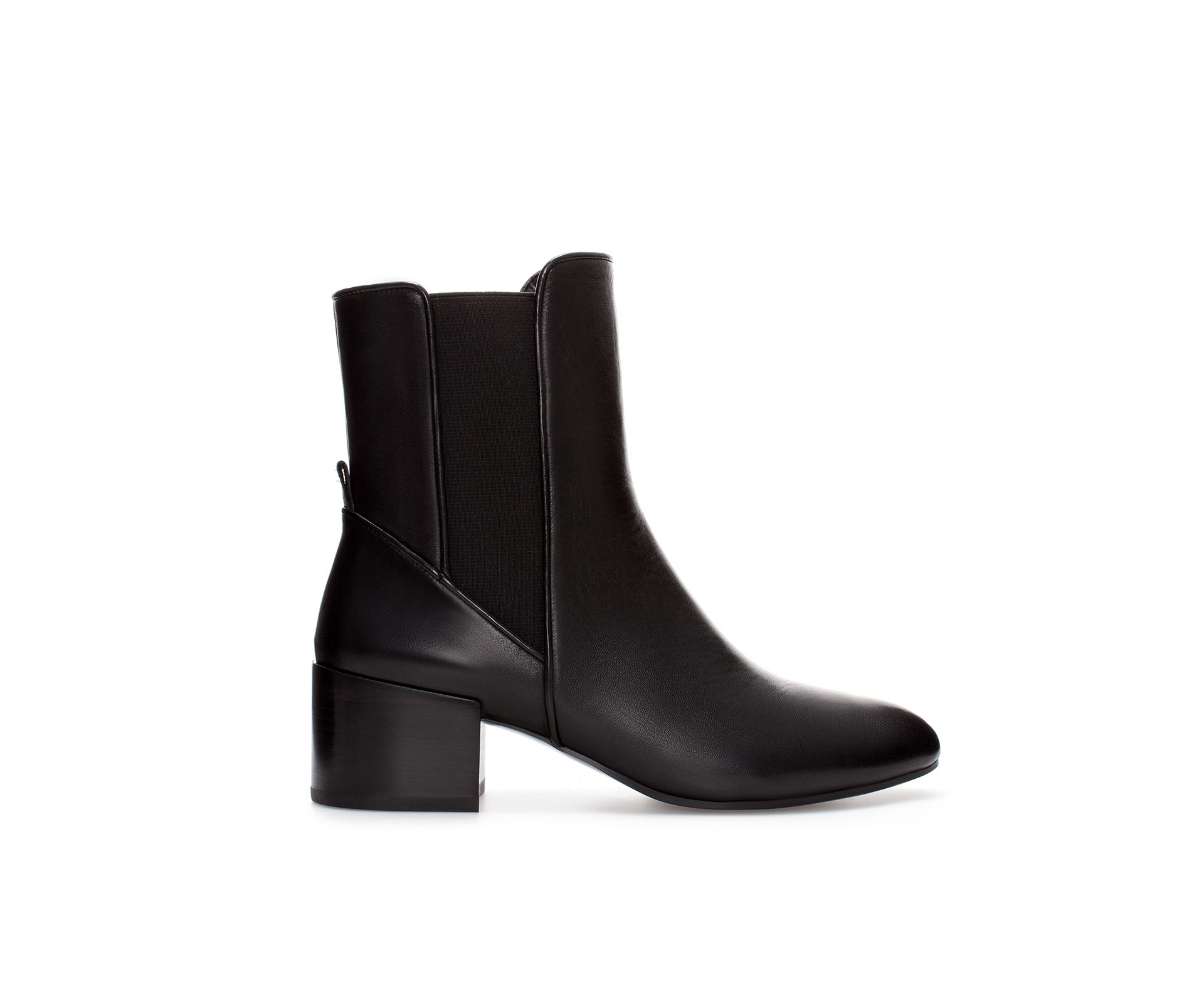 zara leather chelsea ankle boot in black lyst