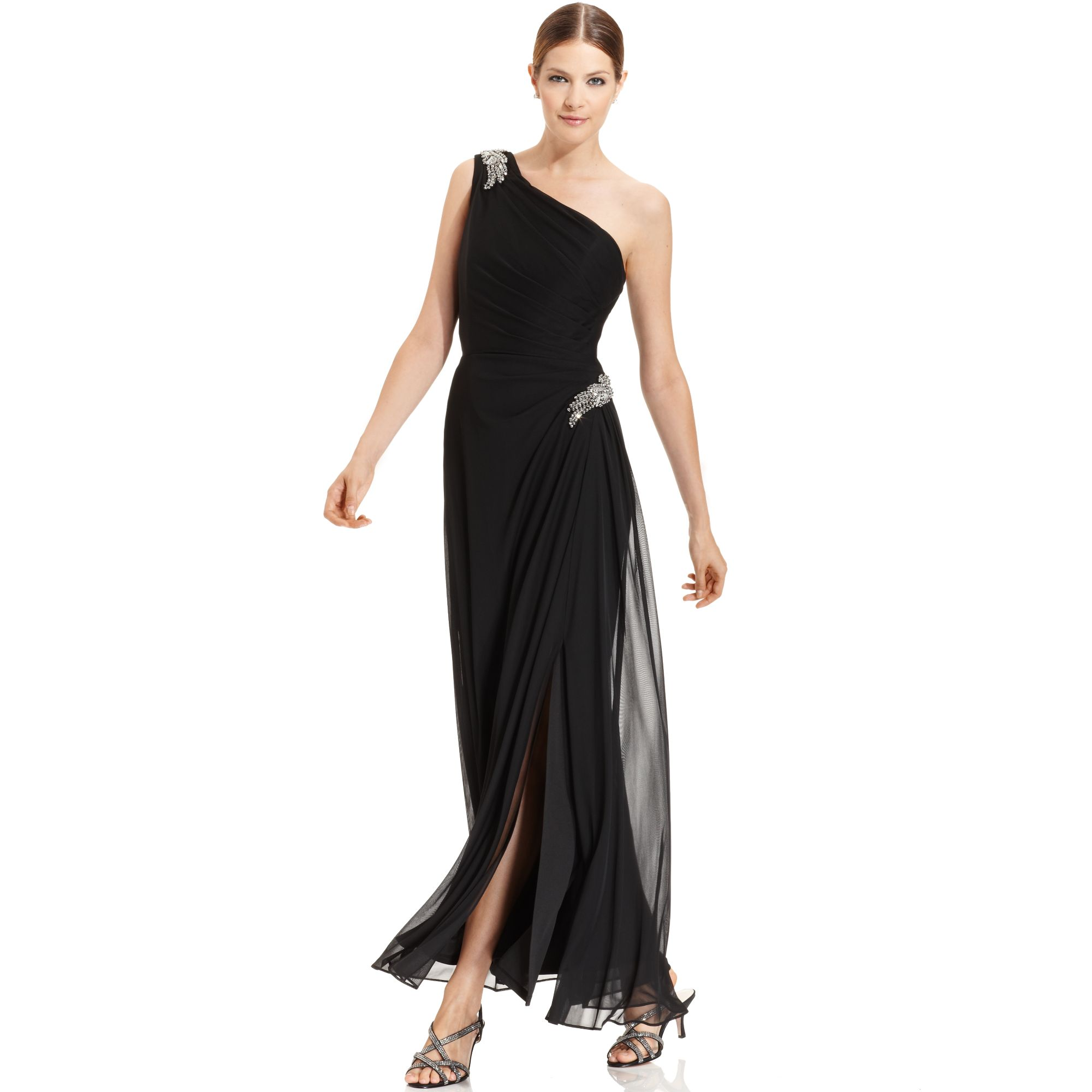 Alex evenings Sleeveless Oneshoulder Draped Gown in Black | Lyst