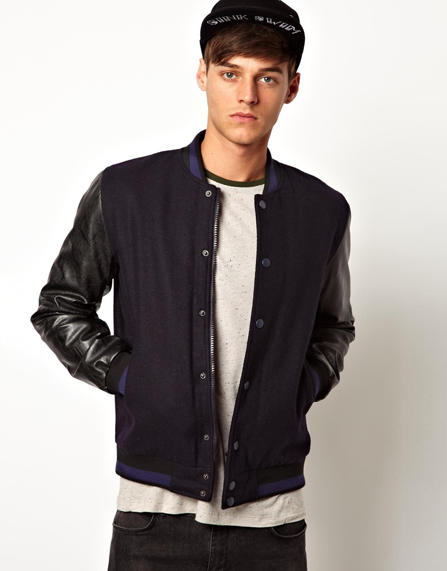 Asos Bomber Jacket with Faux Leather Sleeves in Black for Men | Lyst