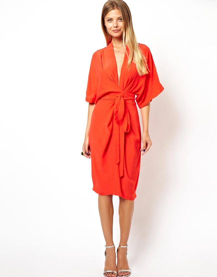Lyst asos midi dress with kimono sleeves in red for Red midi dress wedding guest