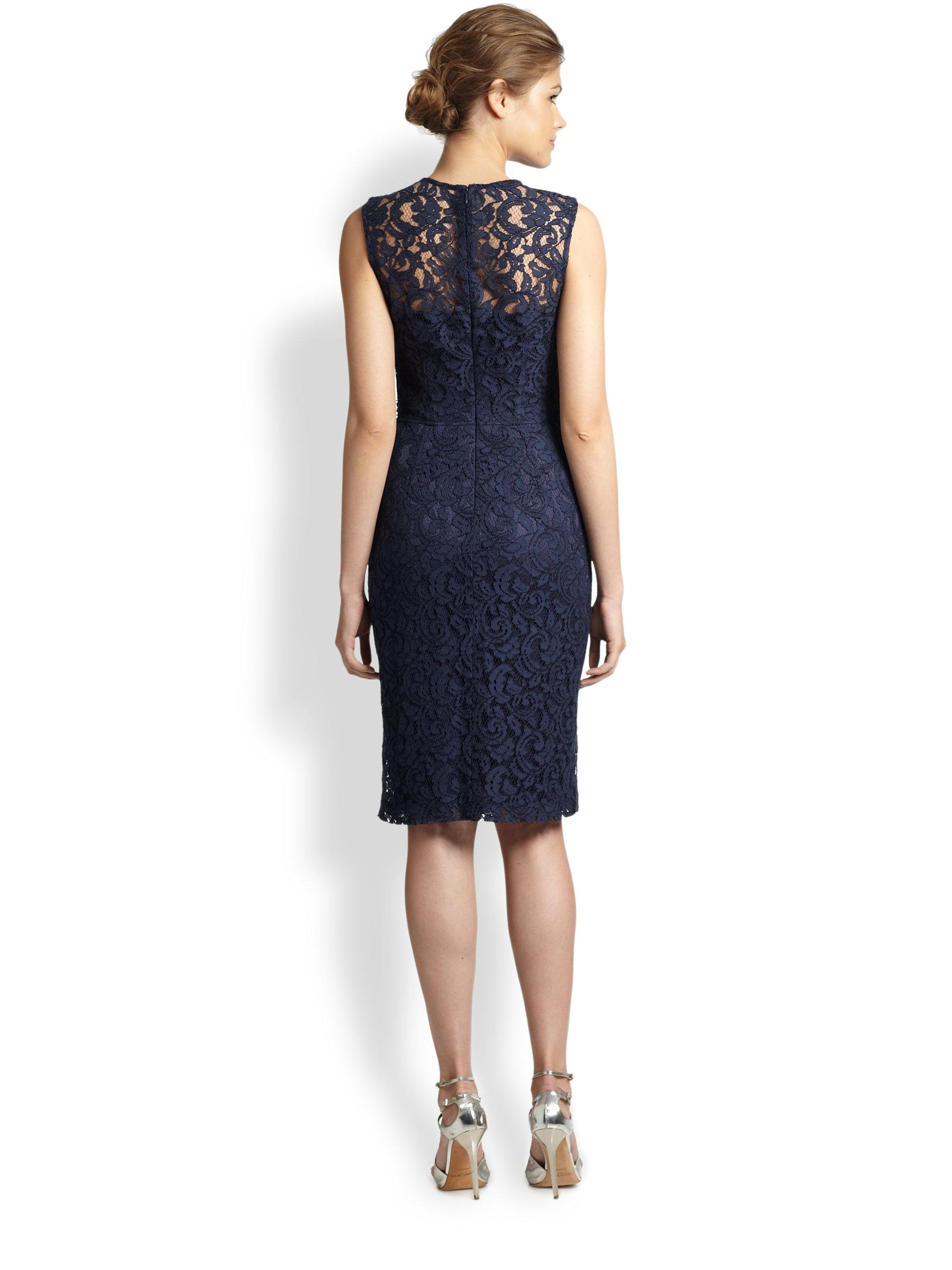 david meister beaded lace dress in blue lyst