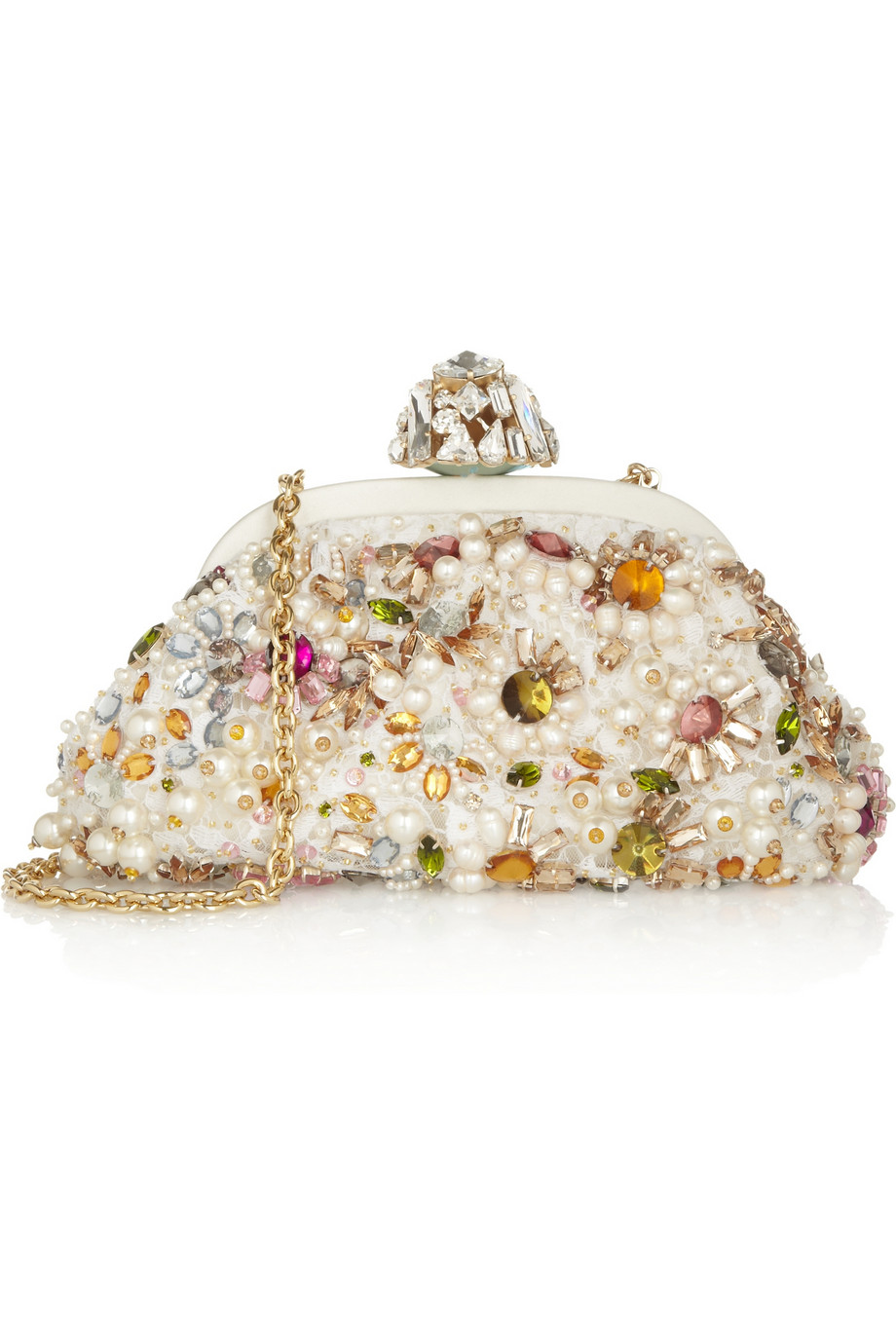 Lyst - Dolce   Gabbana Miss Dea Small Embellished Lace Clutch in White 00150ae332e95