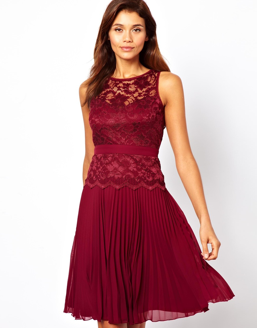 Lulu Amp Co Lace Midi Skater Dress With Pleated Skirt In