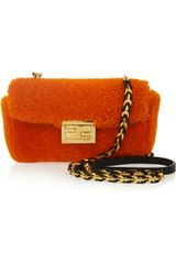 Fendi Be Baguette Mini Shearling Bag - Lyst