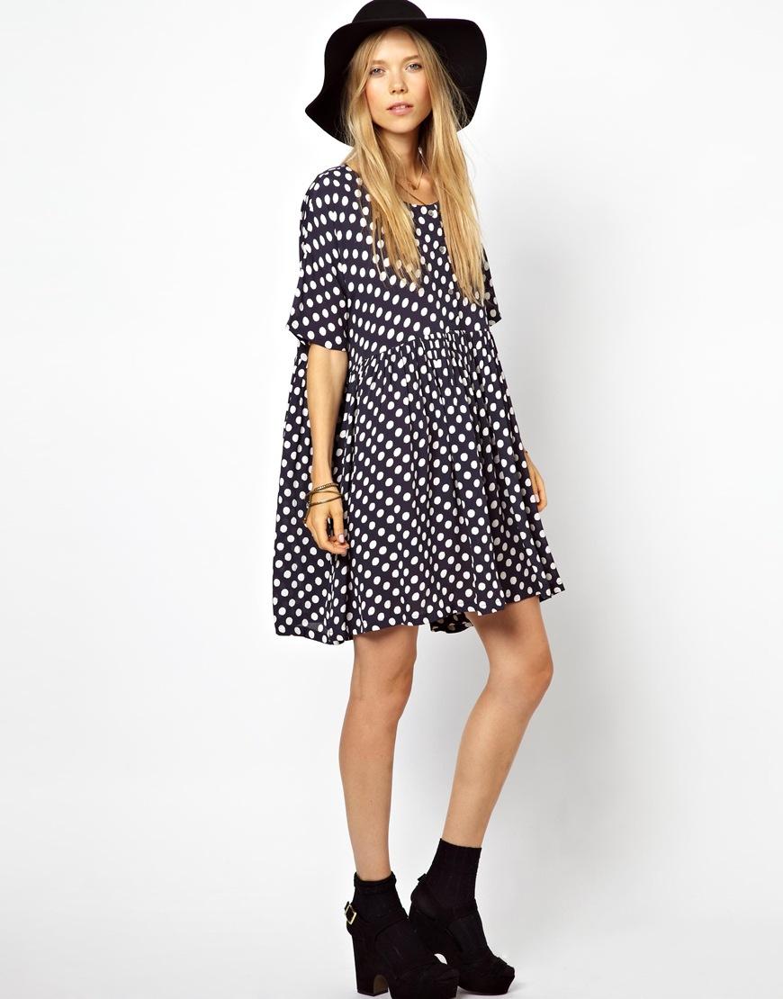 6e4381b5179 Lyst - Ganni Exclusive To Asos Smock Dress in Navy Polka Dot Print ...