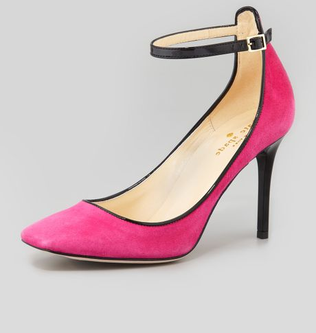 kate spade halo anklestrap suede pink in pink