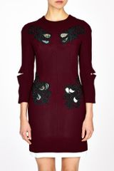Marios Schwab Lace Appliqué Wool Renaissance Dress