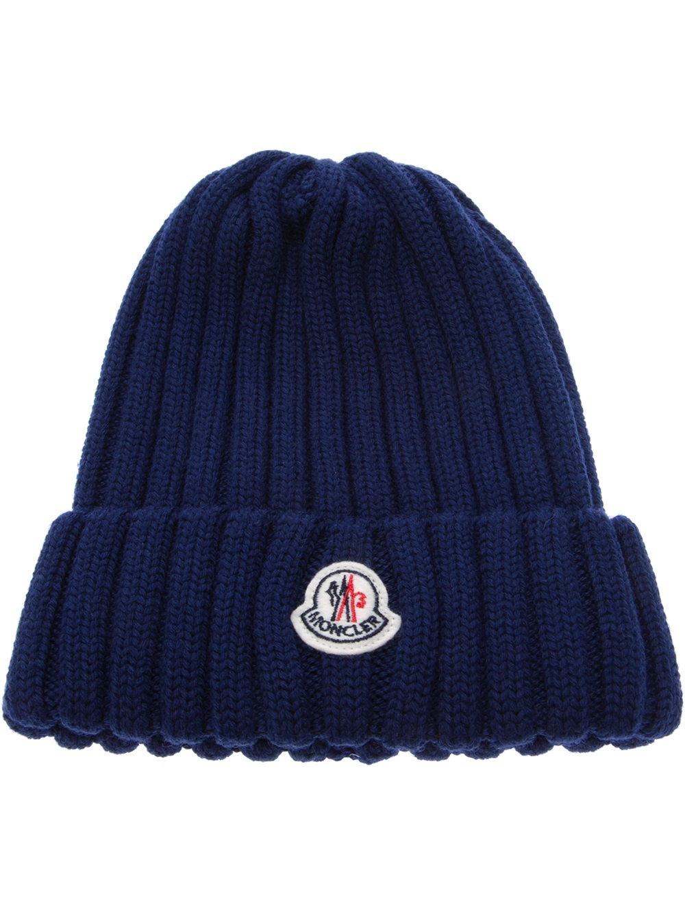 Lyst - Moncler Wool Ribbed Knit Beanie Hat in Blue for Men 3d77ba24f51