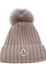 Moncler Wool Ribbed Knit Beanie Hat - Lyst