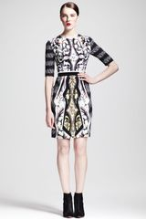 Peter Pilotto Printed Belted Halfsleeve Dress - Lyst