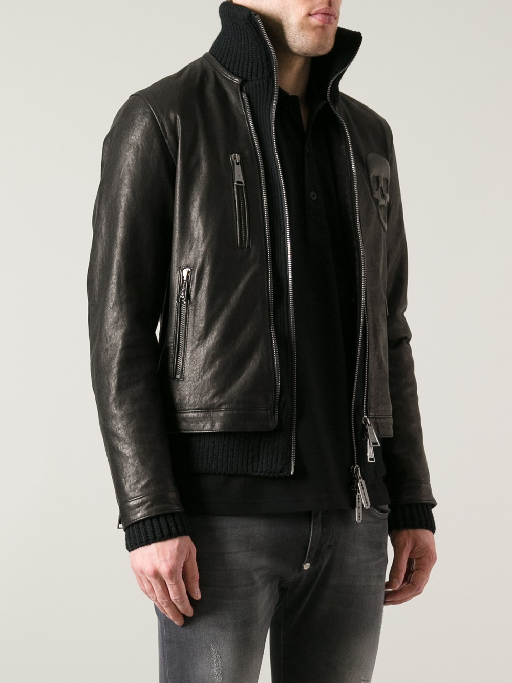 philipp plein cotton biker jacket in black for men lyst. Black Bedroom Furniture Sets. Home Design Ideas