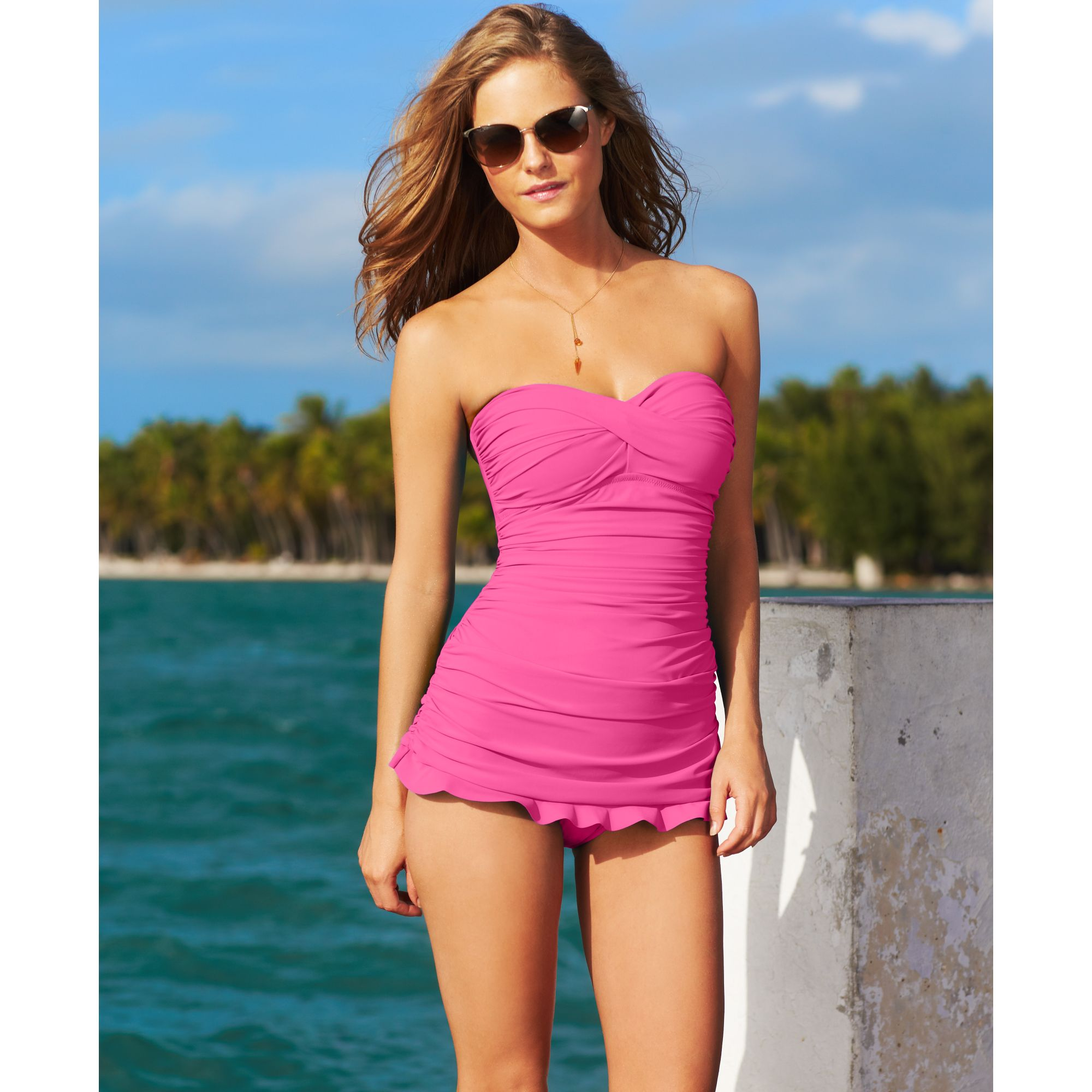 c161db76d9 Gottex Twist Front Bandeau One-piece Swimdress in Pink - Lyst
