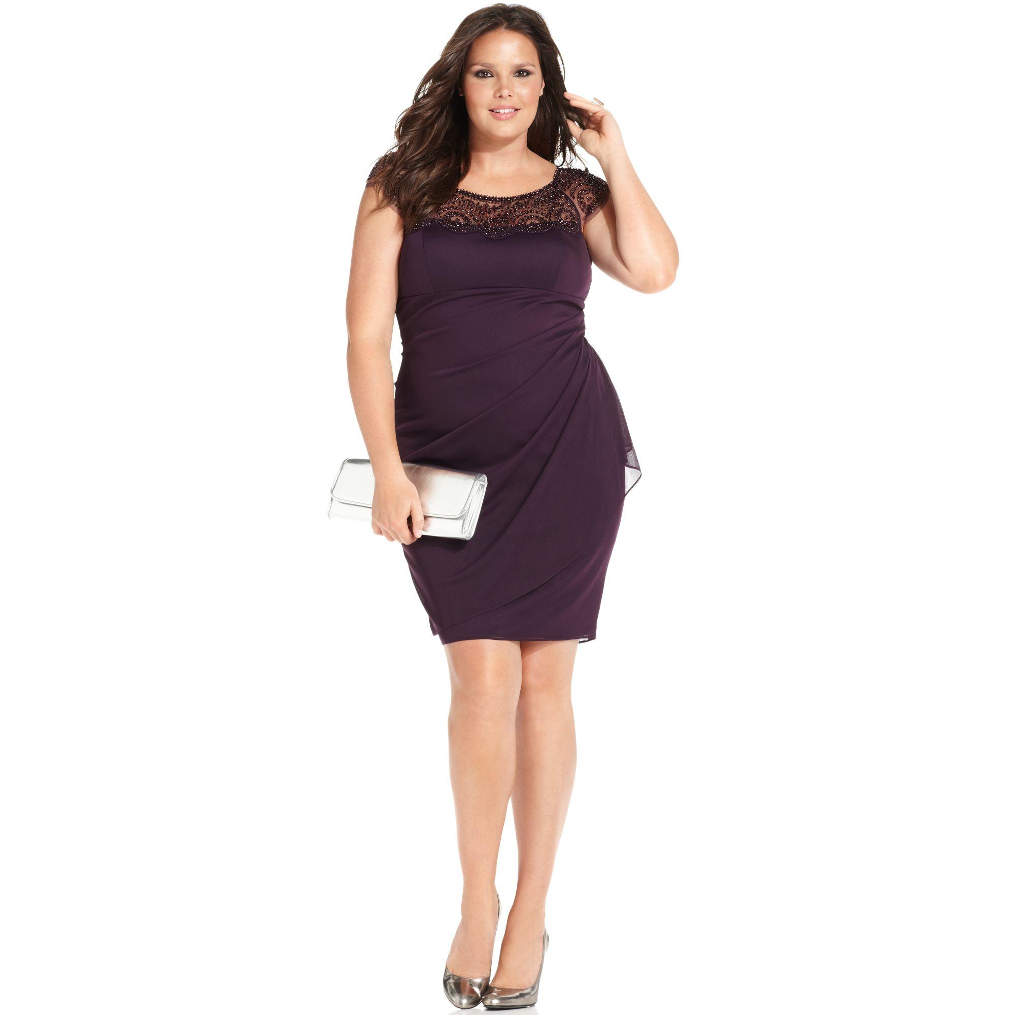Xscape Xscape Plus Size Dress Capsleeve Beaded in Purple - Lyst