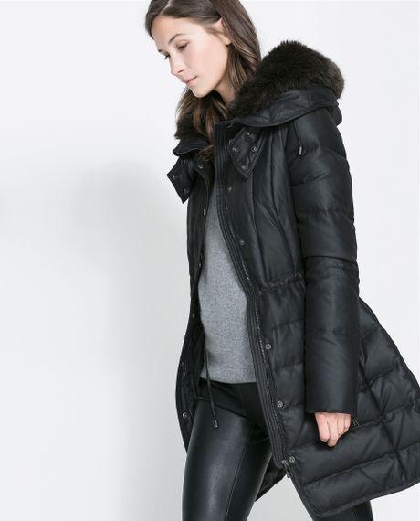 Zara Semilong Puffer Anorak In Black Lyst