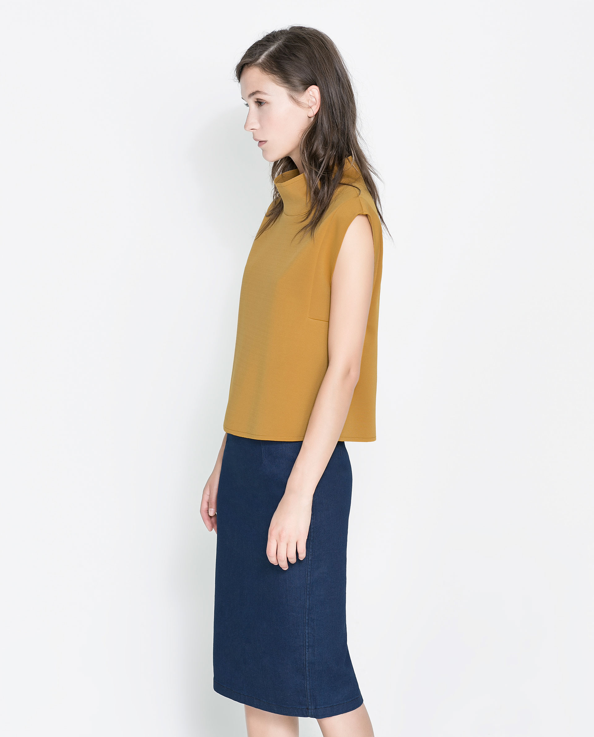 Zara funnel neck crop top in yellow lyst