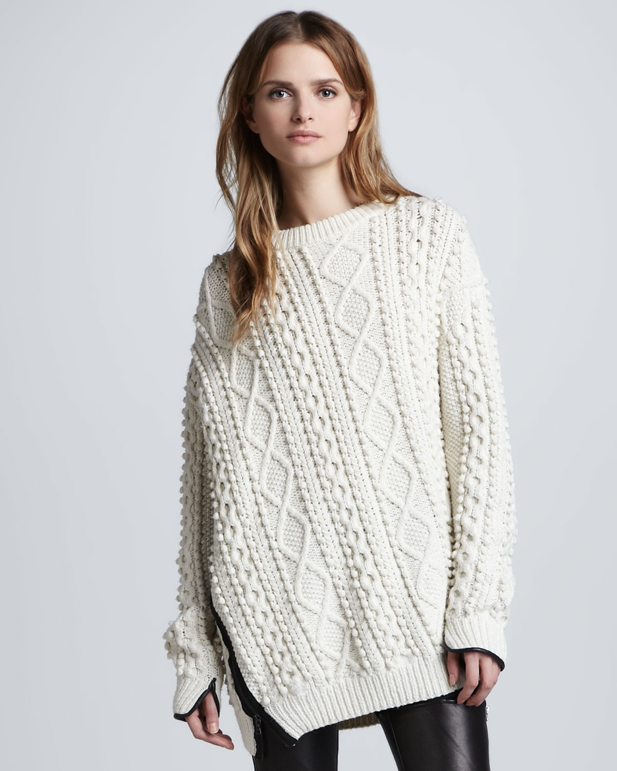 3 1 phillip lim oversized cable knit pullover ivory in white lyst. Black Bedroom Furniture Sets. Home Design Ideas