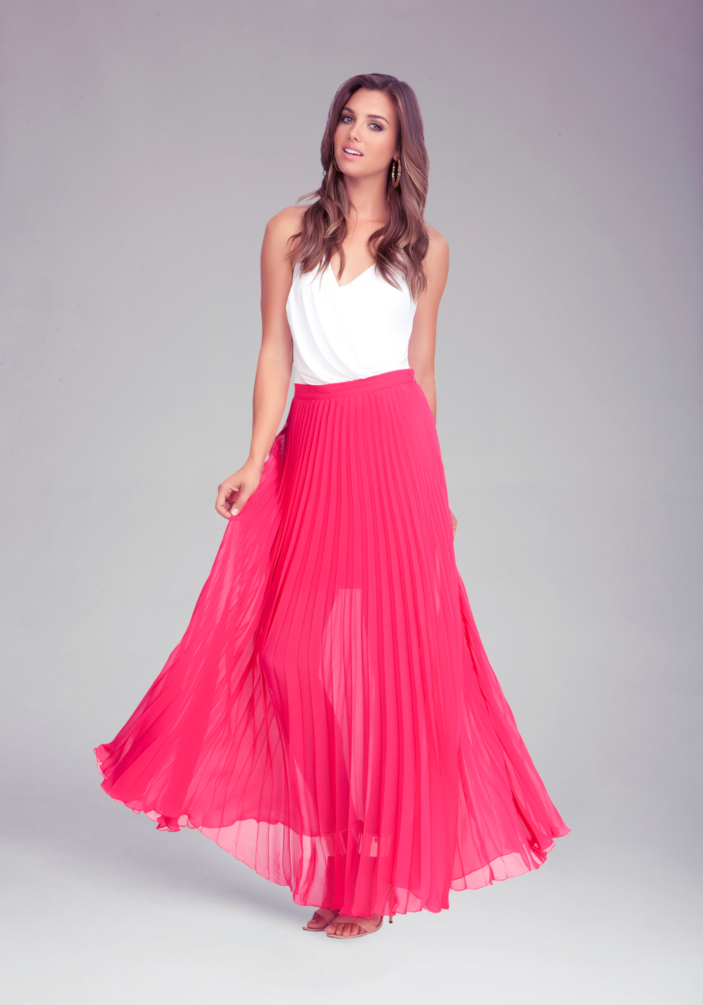 Bebe Pleated Long Skirt in Pink | Lyst