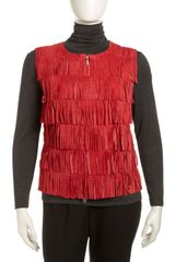 Berek Fringed Tiered Suede Vest Red Womens - Lyst