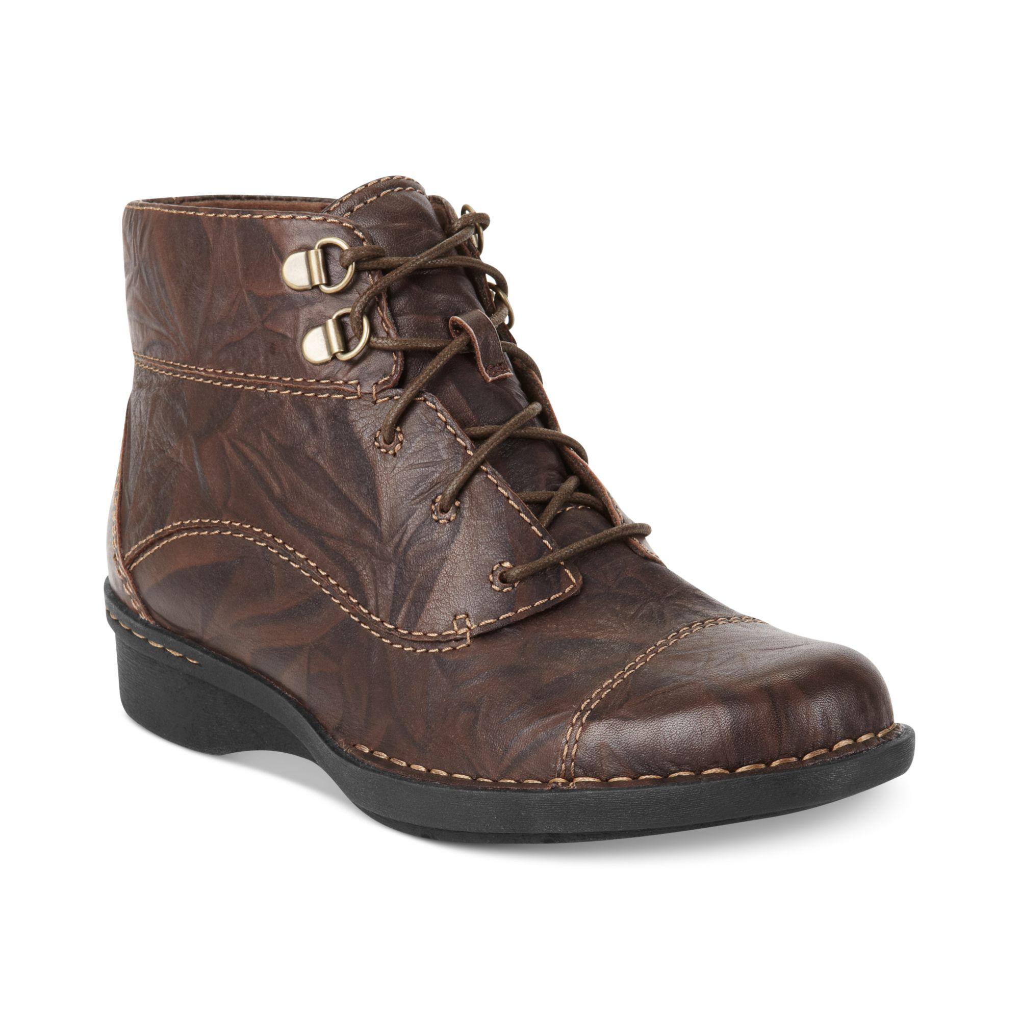 clarks whistle august lace booties in brown brown scrunch