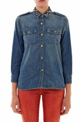 Current/Elliott Studded Collar Denim Shirt - Lyst