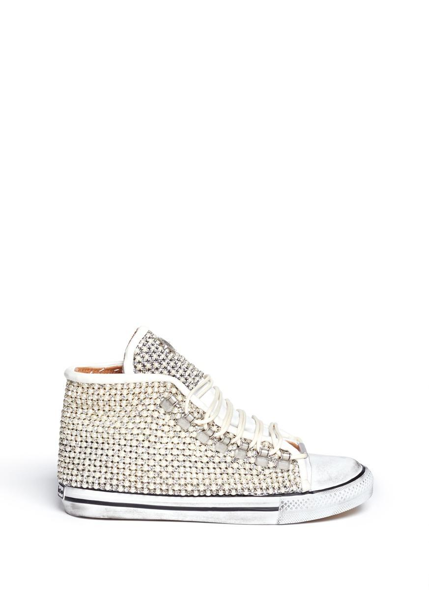 8468cca0ab5b19 Lyst - Black Dioniso Swarovski   Pearl Vintage Sneakers in White