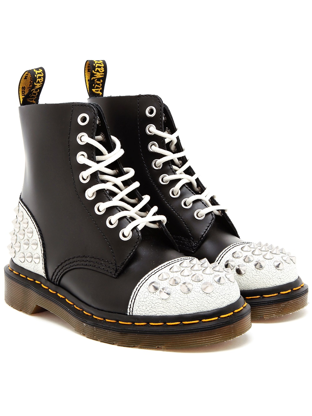 lyst dr martens studded leather air wair boots in white. Black Bedroom Furniture Sets. Home Design Ideas