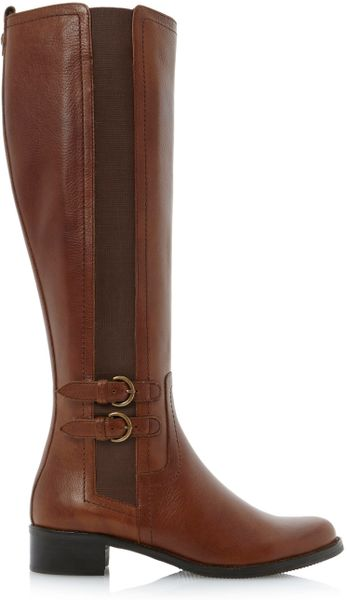 dune timpleton two buckle elastic boots in brown