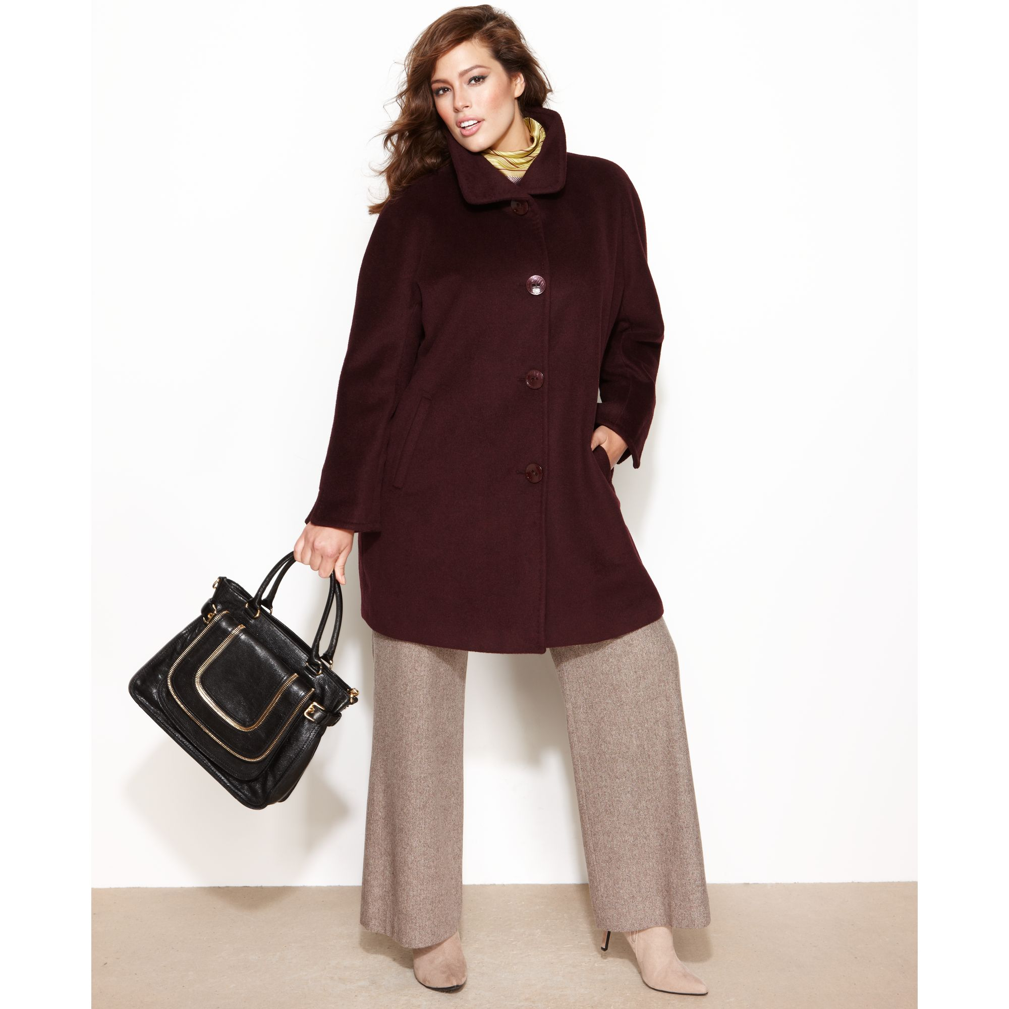 Ellen Tracy Plus Size Wool Angora Blend A Line Walker Coat