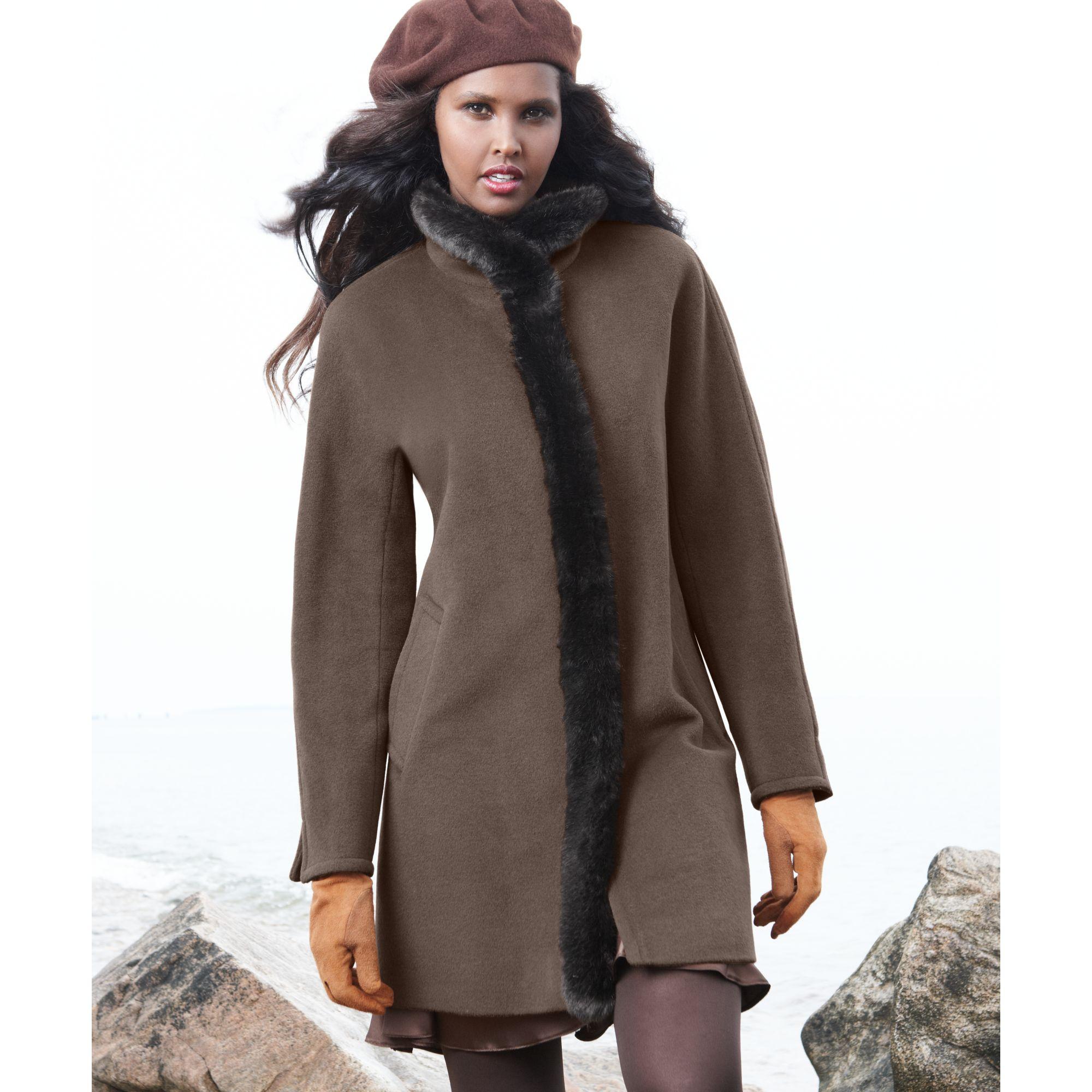 4206104a788a Lyst - Ellen Tracy Faux Fur Trim Wool Blend Car Coat in Brown