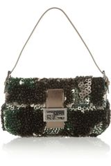 Fendi Baguette Paillette and Bead-embellished Silk Shoulder Bag - Lyst