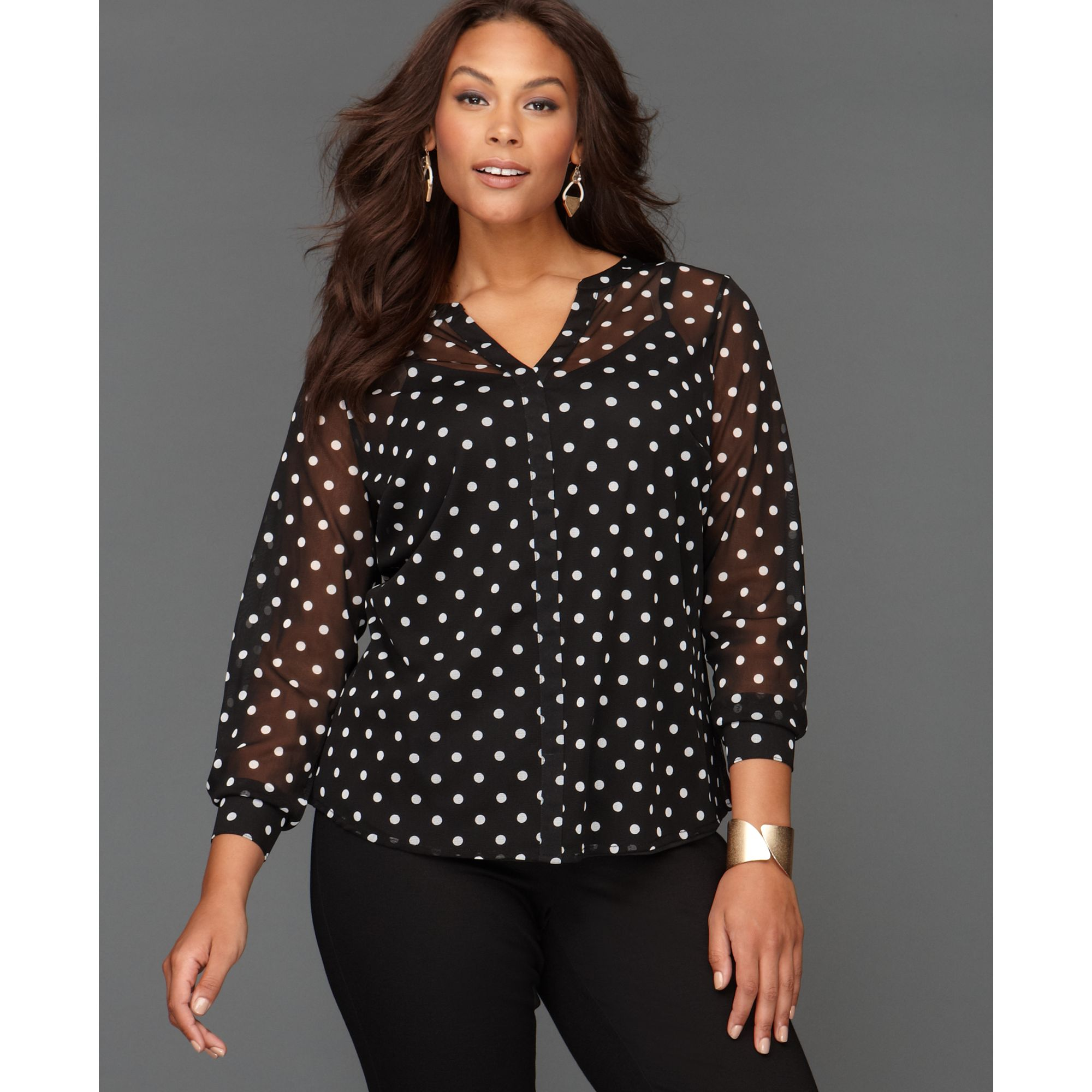 e672a4e9b96be4 INC International Concepts Polka-dot Blouse in Black - Lyst