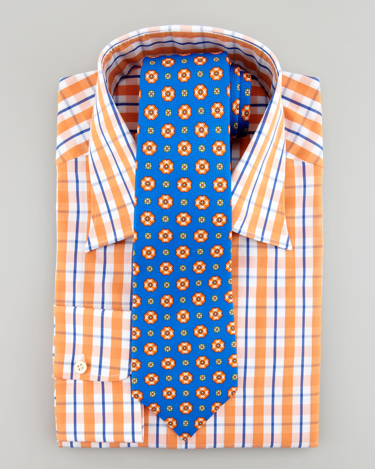 Lyst kiton bold tattersall check dress shirt orange in for Blue check dress shirt